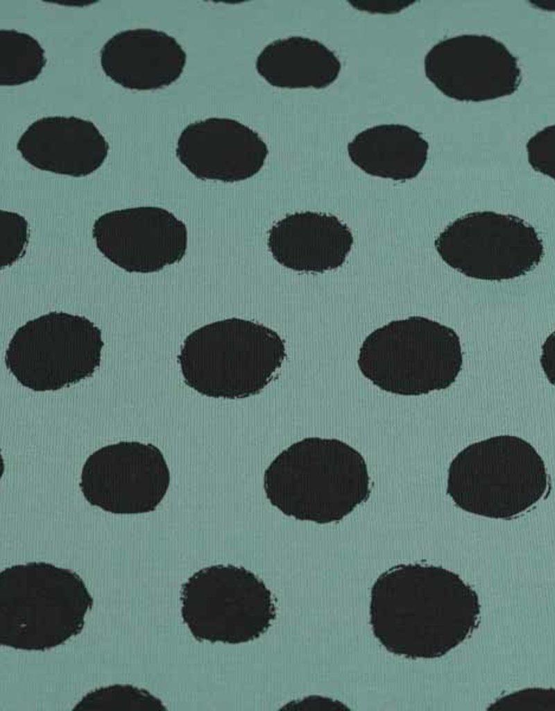 100x150 cm Baumwolljersey Punkte altgrün
