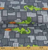 100x150 cm cotton jersey dragons in the city grey