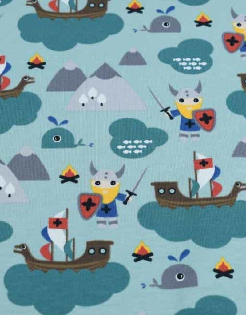 100x150 cm cotton jersey vikings at sea petrol