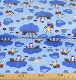 100x150 cm Baumwolljersey Wikinger auf See hellblau