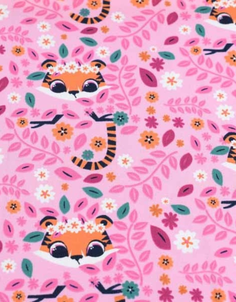 100x150 cm cotton jersey tigers pink