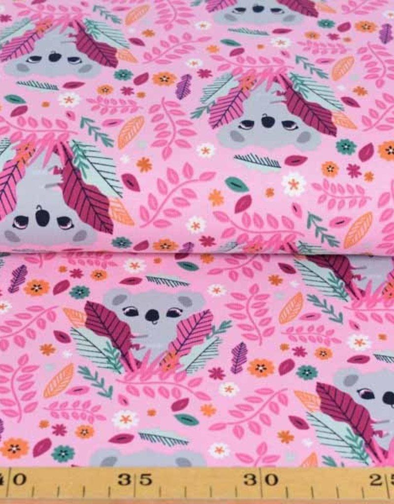 100x150 cm katoen tricot koala's roze