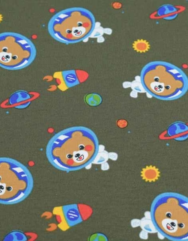 100x150 cm cotton jersey bears in space green