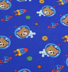 100x150 cm cotton jersey bears in space blue