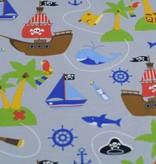 100x150 cm Baumwolljersey Piratenschiff hellgrau