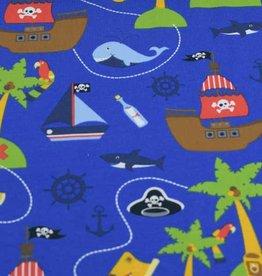 100x150 cm cotton jersey pirate ship blue