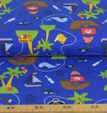 100x150 cm katoen tricot piratenschip blauw