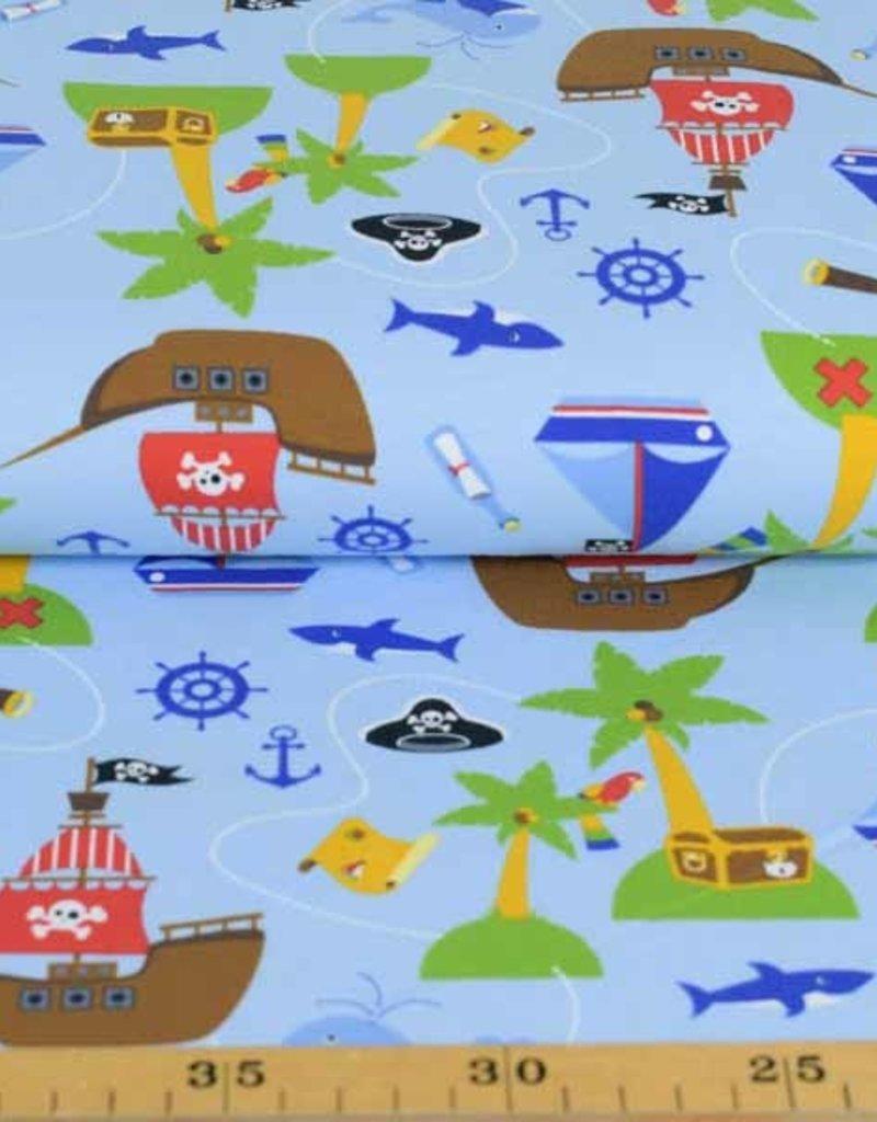 100x150 cm Baumwolljersey Piratenschiff hellblau