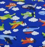 100x150 cm katoen tricot vliegtuigen blauw