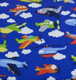100x150 cm cotton jersey airplanes blue