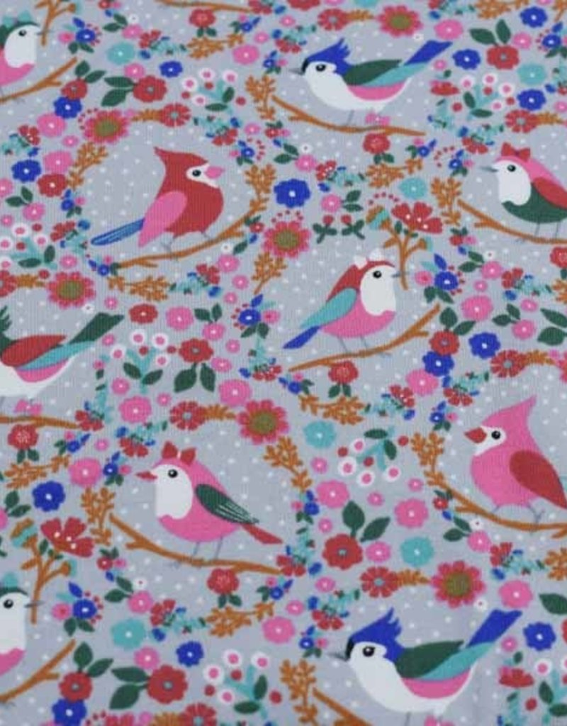 100x150 cm cotton jersey birds with flowers light grey