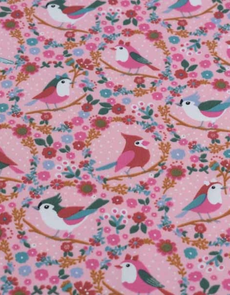 100x150 cm cotton jersey birds with flowers pink