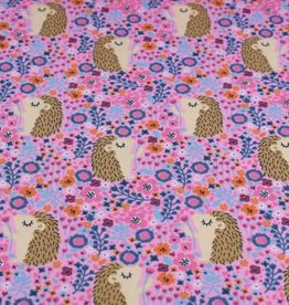 100x150 cm cotton jersey hedgehogs with flowers pink
