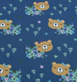 100x150 cm cotton jersey bears with flowers petrol