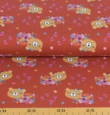 100x150 cm cotton jersey bears with flowers wine-red
