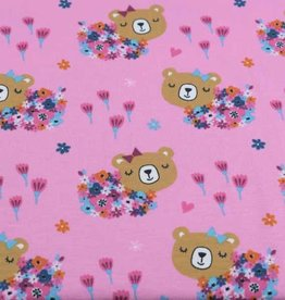 100x150 cm cotton jersey bears with flowers pink