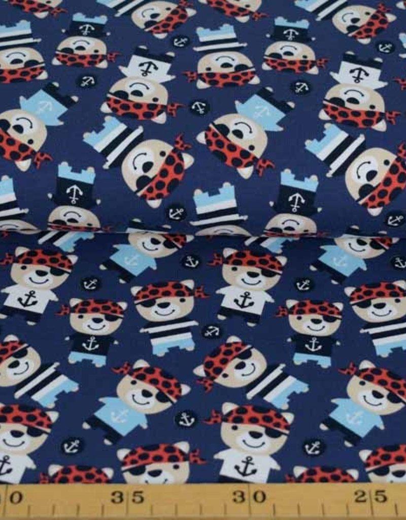 100x150 cm cotton jersey pirates dark blue
