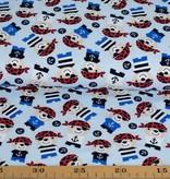 100x150 cm katoen tricot piraten lichtblauw