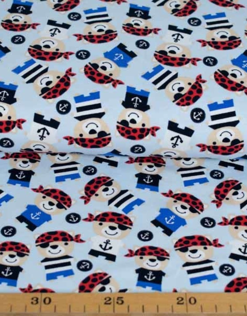 100x150 cm Baumwolljersey Piraten hellblau