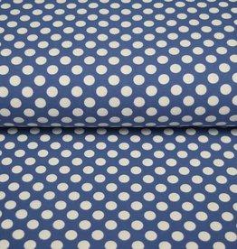 100x150 CM cotton jersey dots steel blue