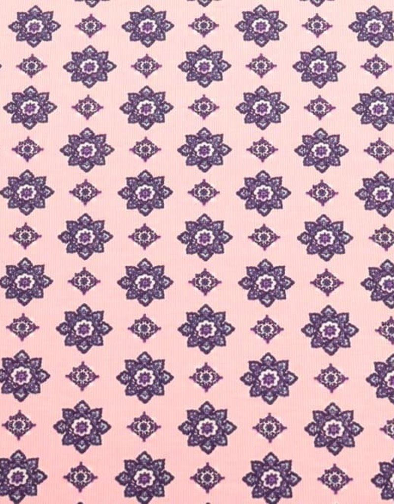 100x150 CM cotton jersey fantasy flowers light pink