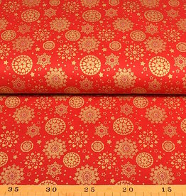 50x140 cm. cotton christmas snowflakes red/gold