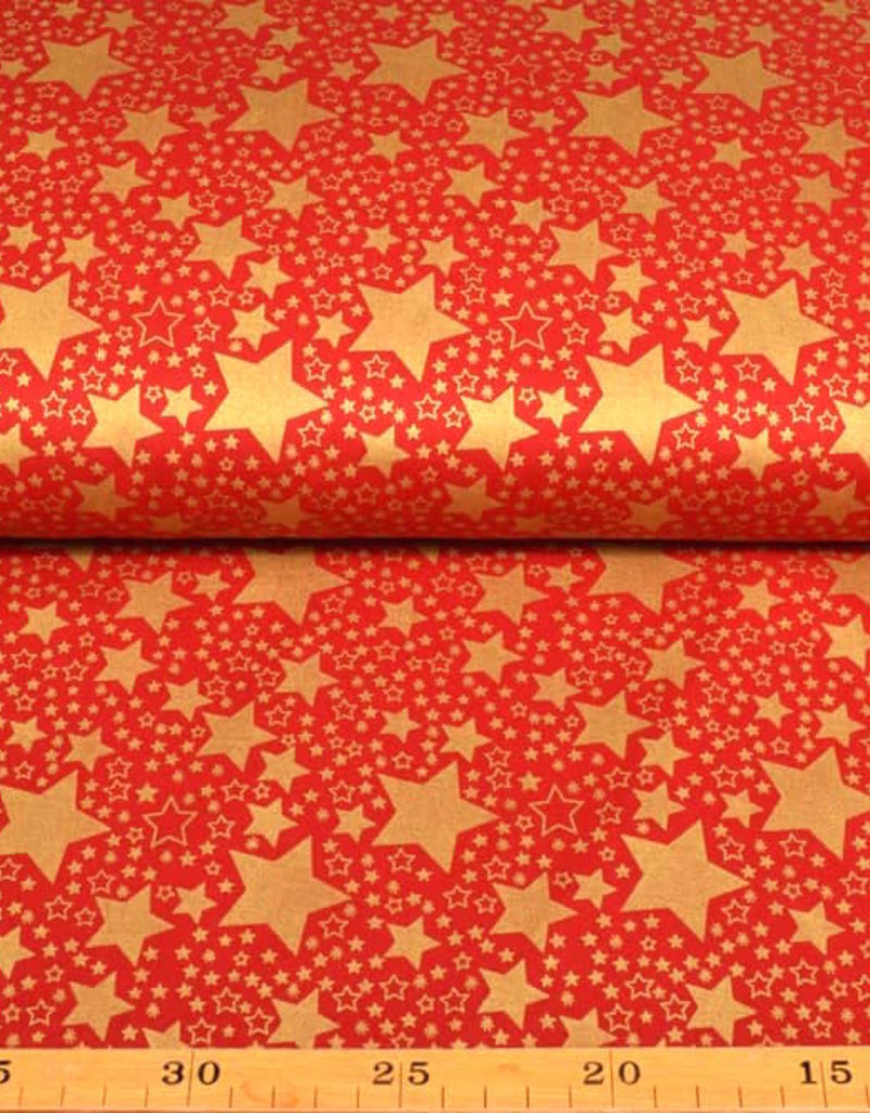 50x140 cm. Baumwolle Christmas Sterne rot/gold