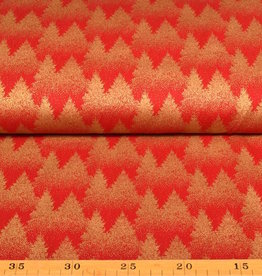 50x140 cm. cotton christmas tree red/gold