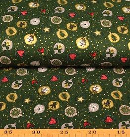 50x140 cm. katoen christmas kerstbal donkergroen