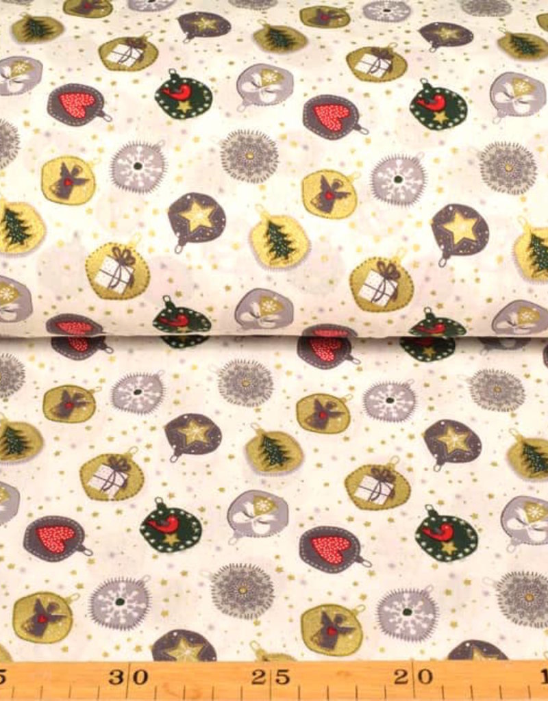 50x140 cm. Baumwolle Christmas Kugeln offwhite