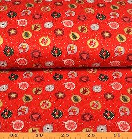 50x140 cm. Baumwolle Christmas Kugeln rot