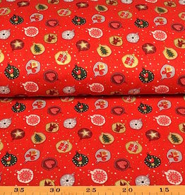 50x140 cm. cotton christmas tree ball red
