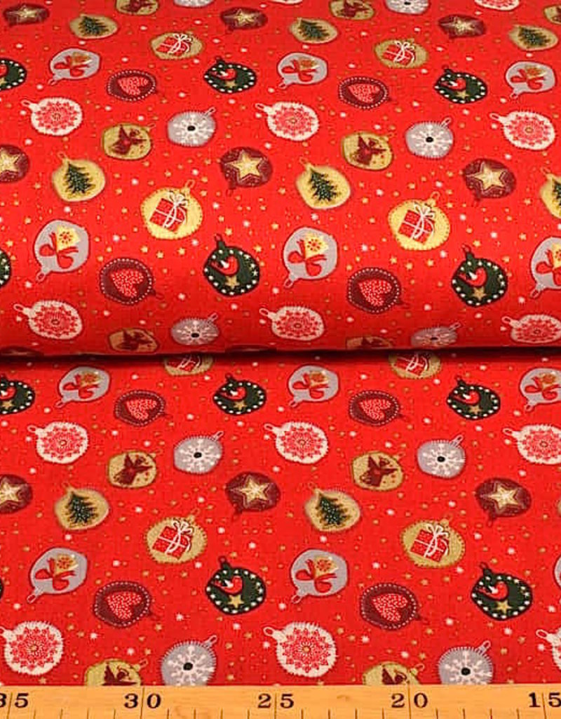 50x140 cm. katoen christmas kerstbal rood