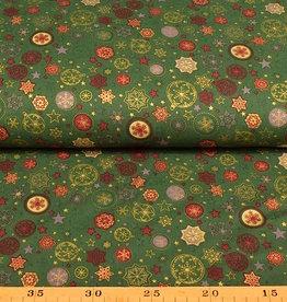 50x140 cm. Baumwolle Christmas Sterne und Kugeln dunkelgrün