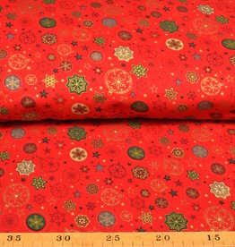 50x140 cm. cotton christmas tree ball and stars red