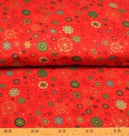 50x140 cm. katoen christmas kerstbal en sterren rood