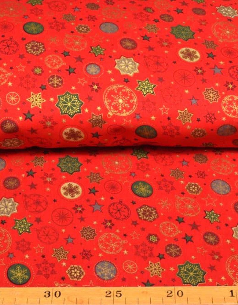 50x140 cm. Baumwolle Christmas Sterne und Kugeln rot
