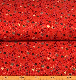 50x140 cm. cotton christmas stars red