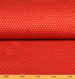 50x140 cm. cotton christmas little stars red/gold