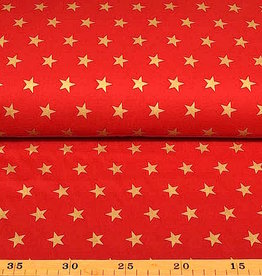 50x140 cm. Baumwolle Christmas große Sterne rot/gold
