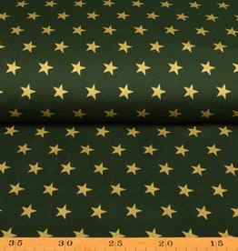 50x140 cm. Baumwolle Christmas große Sterne dunkelgrün/gold