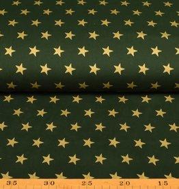 50x140 cm. katoen christmas grote sterren donkergroen/gold