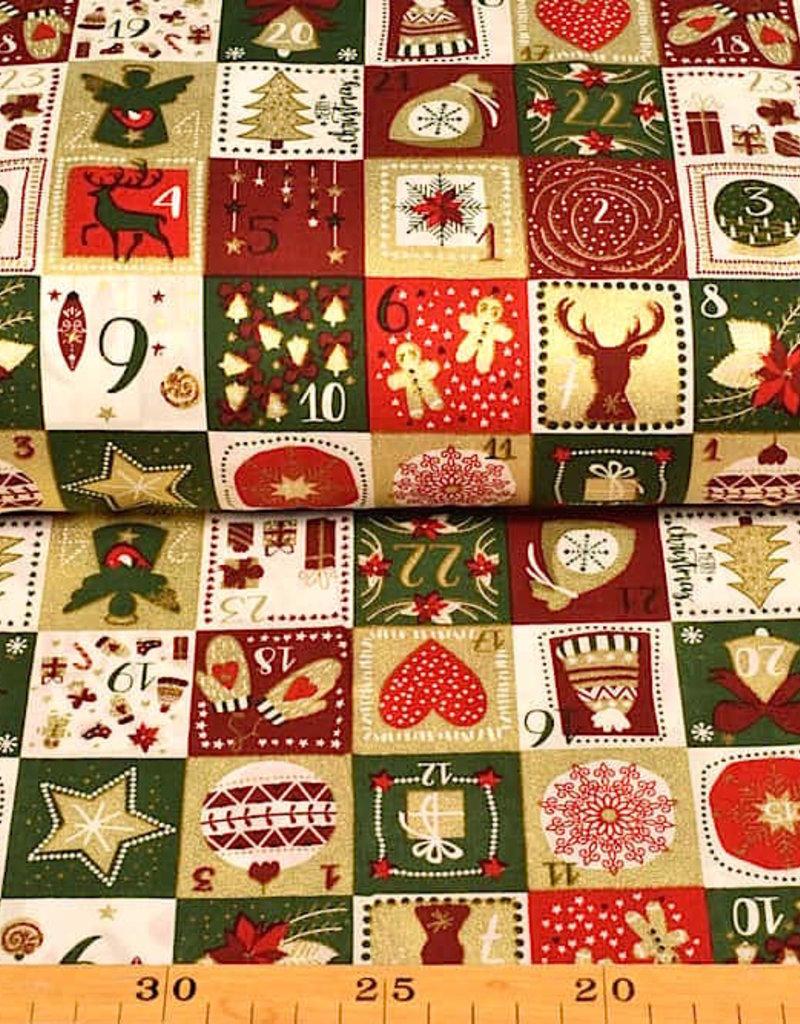50x140 cm. katoen christmas advent donkergroen
