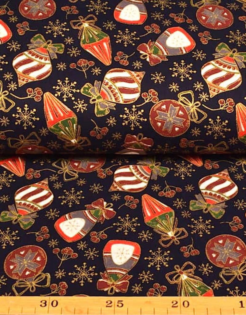 50x140 cm. Baumwolle Christmas Kugeln marine