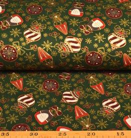 50x140 cm. Baumwolle Christmas Kugeln dunkelgrün