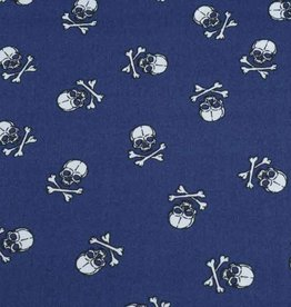 50x140 cm cotton skulls dark blue