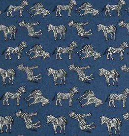 50x140 cm cotton zebras steel blue