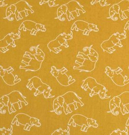 50x140 cm cotton wild animals ocher