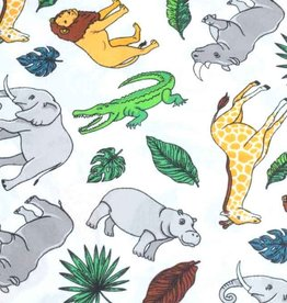 50x140 cm cotton wild animals offwhite