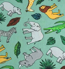 50x140 cm cotton wild animals petrol green